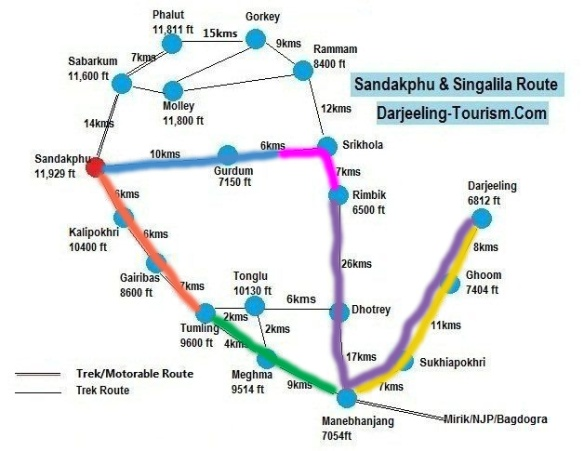 Sandakphu Map-coded