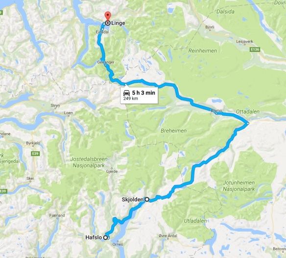 Hafslo to Linge Map