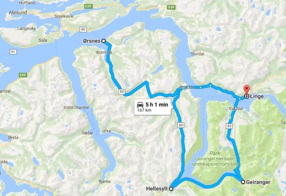 Linge-Hellesylt Map